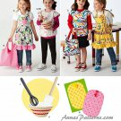 Girls Apron Tote Sewing Pattern Play Kitchen Craft Vest Bowl Spatula Whisk Potholder 2295