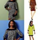Easy Dress Sewing Pattern Above Knee Retro Mod Twiggy 3/4 Sleeve 16-26 Plus 5415