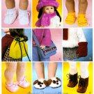 Sewing Pattern 18 In Doll Shoes Handbag Boot Sandal Ballet Houseshoe Scarf Hat Handbag Mitten 3469