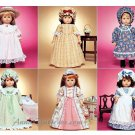 Doll Clothes Sew Pattern 18 Dress Colonial Victorian Nightgown Prairie Country School Bonnet 3627