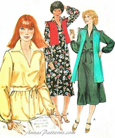 Hipster Tunic Top Dress Sewing Pattern Vest Long Pull Over Easy