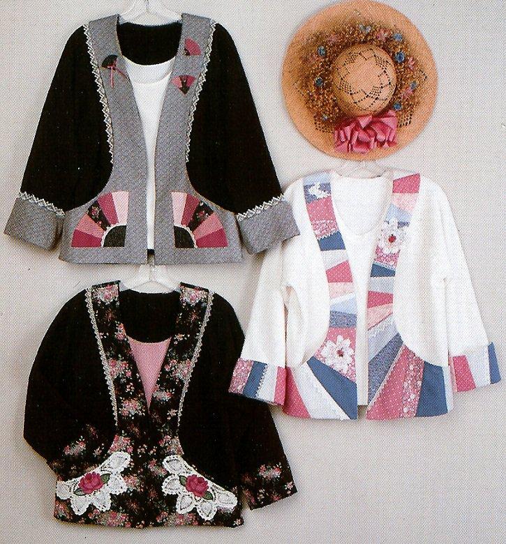 Sweatshirt Jacket Applique Pattern 3 Designs Flower Lace