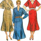 Vintage Dress Sewing Pattern Gored Skirt Inverted Pleats Button Kimono Sleeve 16 6941