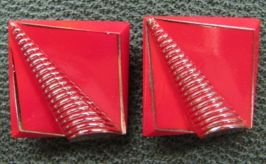 Red Vintage Buttons Glass Square Geometrical Trumpet Silver Accent Dimensional Design Craft Sewing