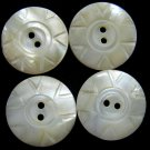 Carved Mother Of Pearl Buttons Shell Natural Set 4 Vintage 3/4 Crafts Sewing