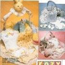 Bib Bonnet Blanket Sewing Pattern Gift Basket Rabbit Bottle Cover Frame Toy Vintage 5852