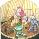 Circus Animals Clown Sewing Pattern Puff Circle Vintage Toy Elephant Frog Giraffe Child 6483