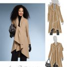 Easy Unlined Coat Jacket Sewing Pattern Scarf Neck Shawl Style Loose Knee Length 8-14 5987