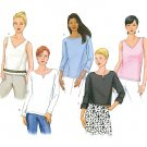 Easy Pullover Tops Sewing Pattern Tanks Crop Round V-neck Suits Casual 12-16 6943