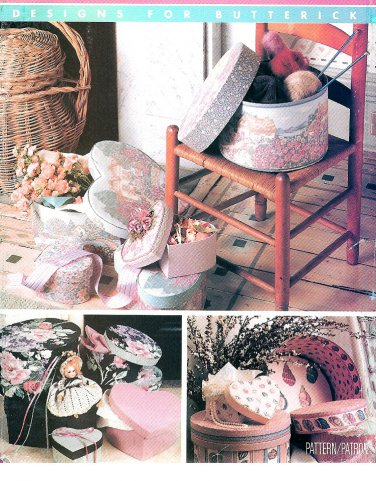Covered Boxes Sewing Pattern Designs Round Heart Oval Gift Storage Display Holiday 6656