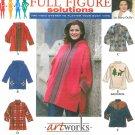 Oversize Coat Sewing Pattern Poncho Blanket Jacket Hood Zip Front Plus 26W-32W 8267