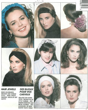 Snood Headband Bow Sewing Pattern Vintage 90s Hair Accessories Braid