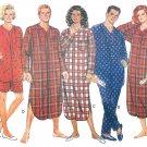 Pajama Sewing Pattern Unisex Nightshirt Top Pant Shorts Easy XS-M 3034 Lounge Casual Sleepwear