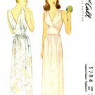 McCalls 40's Vintage Sewing Pattern Sexy Nightgown Evening Gown Long V-Neck Shaped Midriff 14 5784