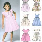 Girls Easy Dress Sewing Pattern Raised Fitted Bodice Short Sleeve Sleeveless Full Skirt 3-8 5704