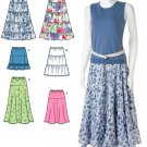 Skirt Sewing Pattern Design Easy Tiered Flared 3 Lengths Pull On Elastic Waist 8-16 2609