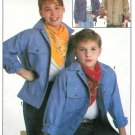 Boy Girl Barn Jean Jacket Sewing Pattern Unlined 2 Lengths Button Snap Front Child Small 8226