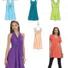 Halter Dress Sewing Pattern Tunic Tops Raised Waist Cowl Trendy 4-12 6031