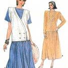 Drop Waist Dress Sewing Pattern Vintage Vogue Broad Shoulder Full Skirt Vest Plus 18-22 9257