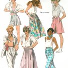 Retro Skirt Pants Capri Sewing Pattern Pleated Pull On Culottes Easy 80s Vintage 12 9525