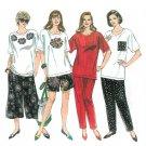 Womens Plus Sewing Pattern Pullover Top Pants Capri Shorts Easy Split Skirt 18W-24W 8448