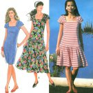 Dropped Waist Dress Sewing Pattern Cap Sleeve Square Neck Fitted Summer Spring Easy 6-14 7325
