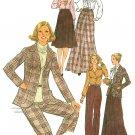 Vintage Wardrobe Sewing Pattern 70s Suit Jacket Long Short Skirt Pants Blouse Misses 10 8245