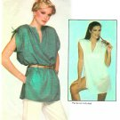 Easy Tunic Top Sewing Pattern Gathered Shoulders Loose Cover Up Pullover V-Neck Vintage 4 6645