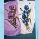 Iris Painting Pattern Instructions Purple Blue T-shirt Sweatshirt Flowers Garden Nature
