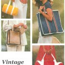 Tote Bags Sewing Pattern Easy Duffle Handbag Square Shopper Bookbag Gym Travel Vintage 8874