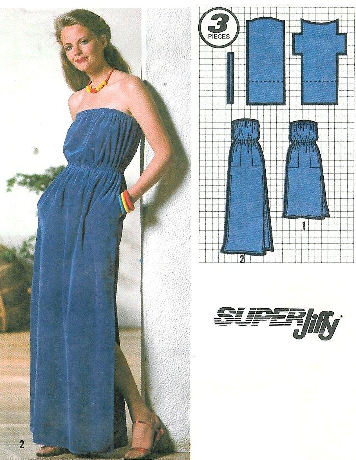 Strapless Dress Sewing Pattern Sz 14 16 Long Short Beach