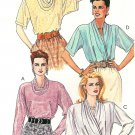 90's Dress Blouse Sewing Pattern Draped Cowl Neck Long Sleeve Pullover Front Wrap Sz 14 5296