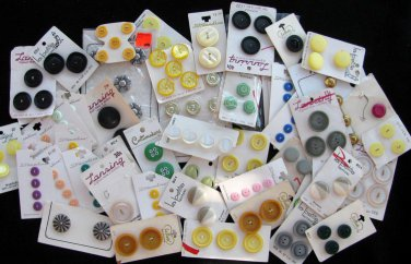 Vintage Button Lot Old Stock Yellow Green Blue Black Purple Gold Metal Plastic Craft Sewing