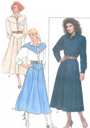 Western Top Skirt Sewing Pattern Cowgirl Yoke Flared Costume Dance