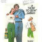 Men Teen Pants Sewing Pattern Vintage Drawstring Tote Easy Waist 28 Hipster 70s 7872