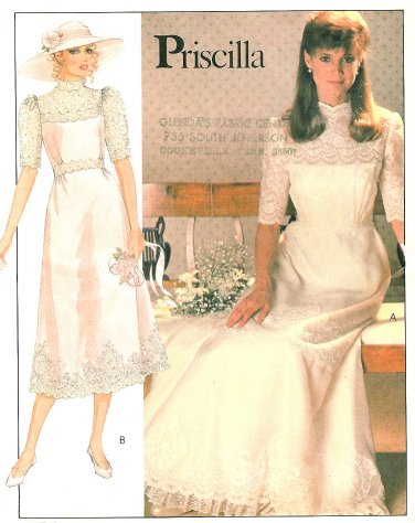 Vintage Wedding Gown Sewing Pattern High Neck Lace Victorian