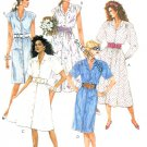 Button Front Dress Sewing Pattern 8 10 12  Straight Flare Short Long Sleeve 80s 3623
