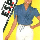 Button Front Top Shirt Sewing Pattern 8 10 12 Vintage Tie Sleeve Easy Retro Mod Hipster 9470