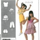 80s Elements Sewing Pattern Girls Top Ruffle Skirt Capris Shorts Stretch Knit 7-14 9065