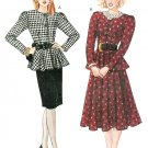 Top Skirt Sewing Pattern Vintage 2 Piece Dress 14-20 Peplum Long Sleeve Straight Flared Skirt 3857