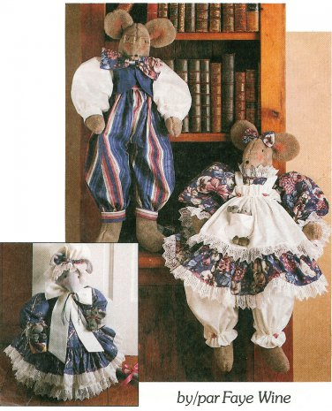 Mice Dolls Mouse Doorstop Sewing Pattern Large Stuffed Plush Male Female Grandma 28 20 Inch 6158