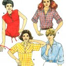 Pullover Top Sewing Pattern 14 Vintage 70s Drawstring Waist Mandarin Collar Button Easy Retro 5934