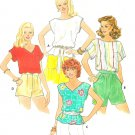 Easy Pullover Top Sewing Pattern Vintage 12/14 Easy V-neck Boat Neck Short Sleeve 4291