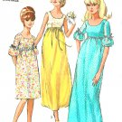 60s Dress Sewing Pattern Sz 11 Long Short Puff Sleeve Sleeveless Raised Bodice 6560