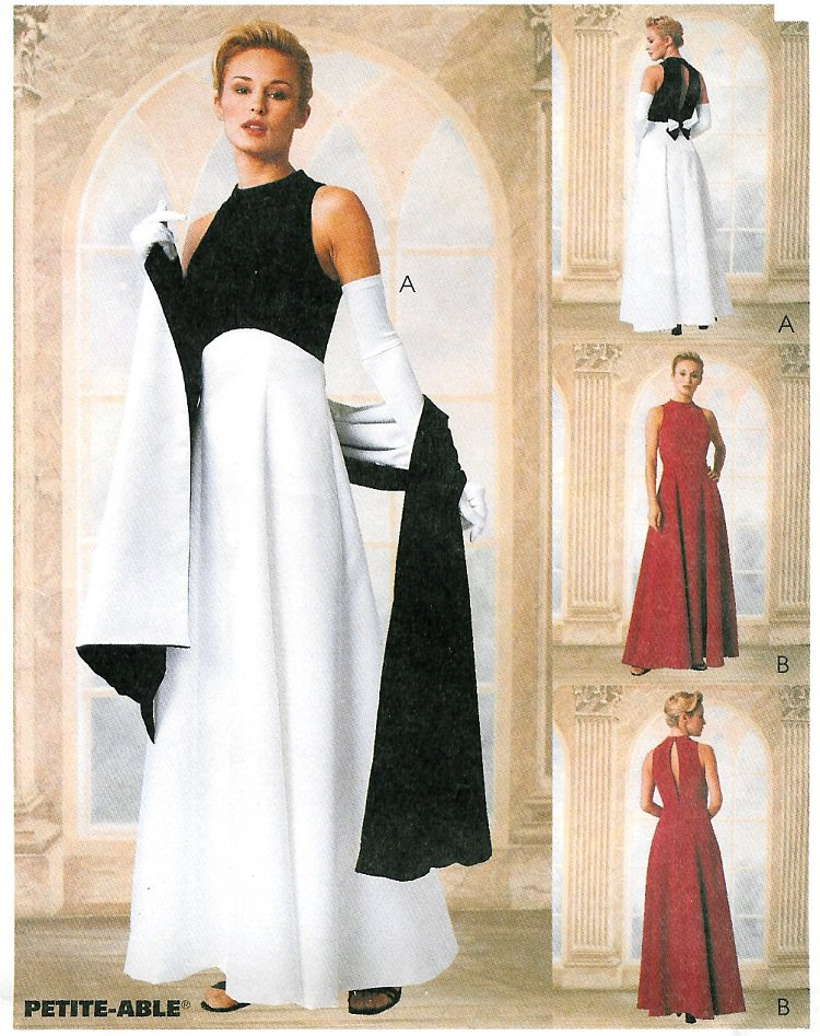 Evening Gown Sewing Pattern 8-12 Peek A Boo Sleeveless Empire Waist ...