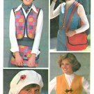 Bolero Vest Sewing Pattern Beret Messenger Bag Easy Vintage 70s 8/10 7155
