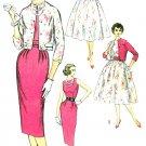 50s Dress Sewing Pattern Sz 12 Sleeveless Sheath Wiggle Full Skirt Crop Bolero Jacket Party  2407