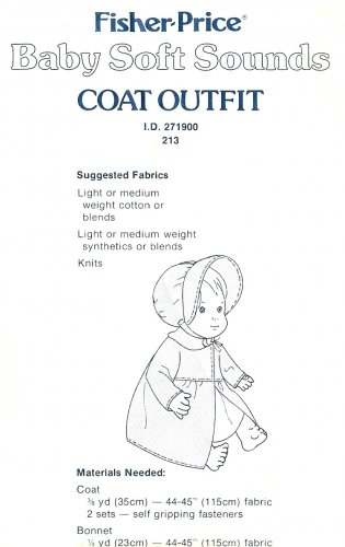 Baby Soft Sounds Coat Bonnet Sewing Pattern 1980 16 Inch Doll Clothes 213 Jacket Hat Outfit