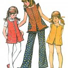 Girls Hippie Mod Tunic Top Shorts Pants Sewing Pattern 5 Vintage 1973 Sleeveless 3625
