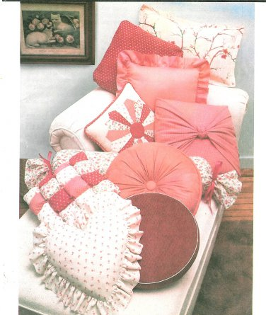 Vintage Throw Pillows Sewing Pattern Heart Patchwork Dresden Bolster Sunburst Flanged Round Wrap 129
